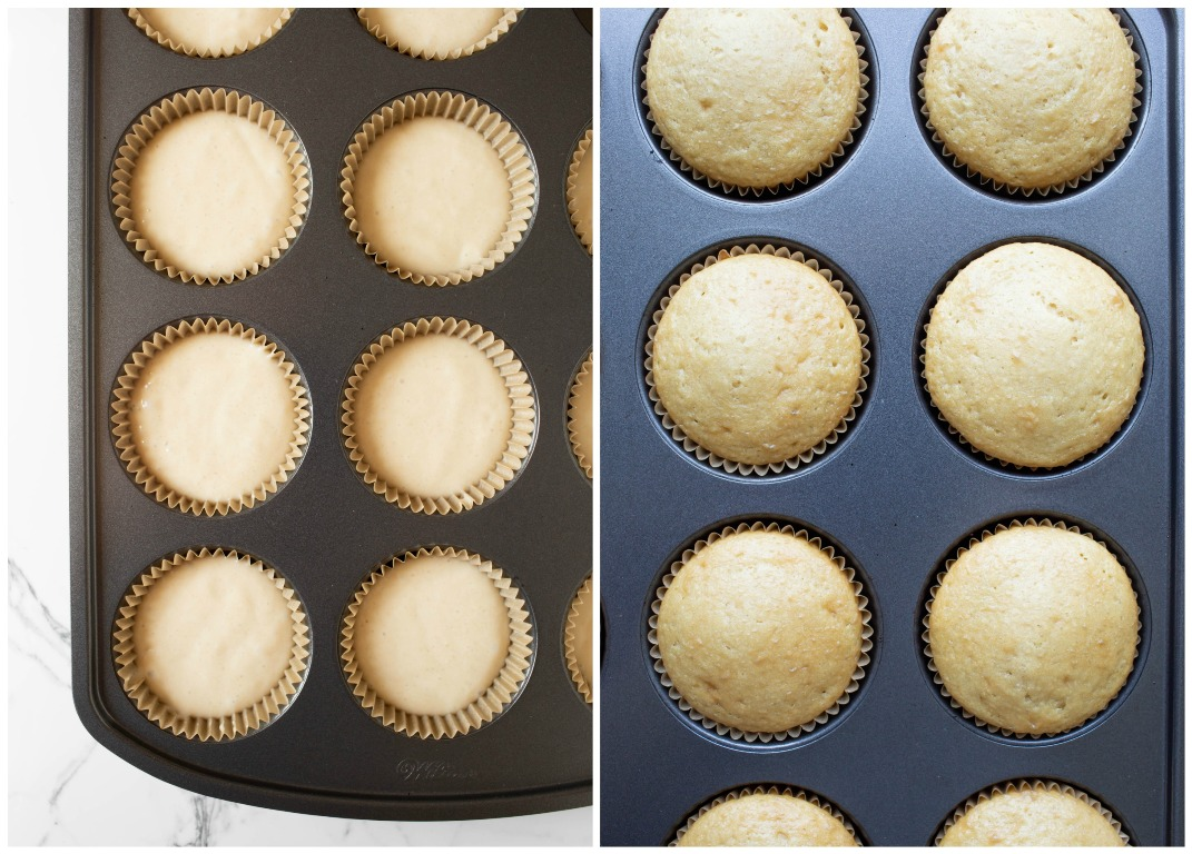 bef pics of cupcakes before and after baking in muffin pan