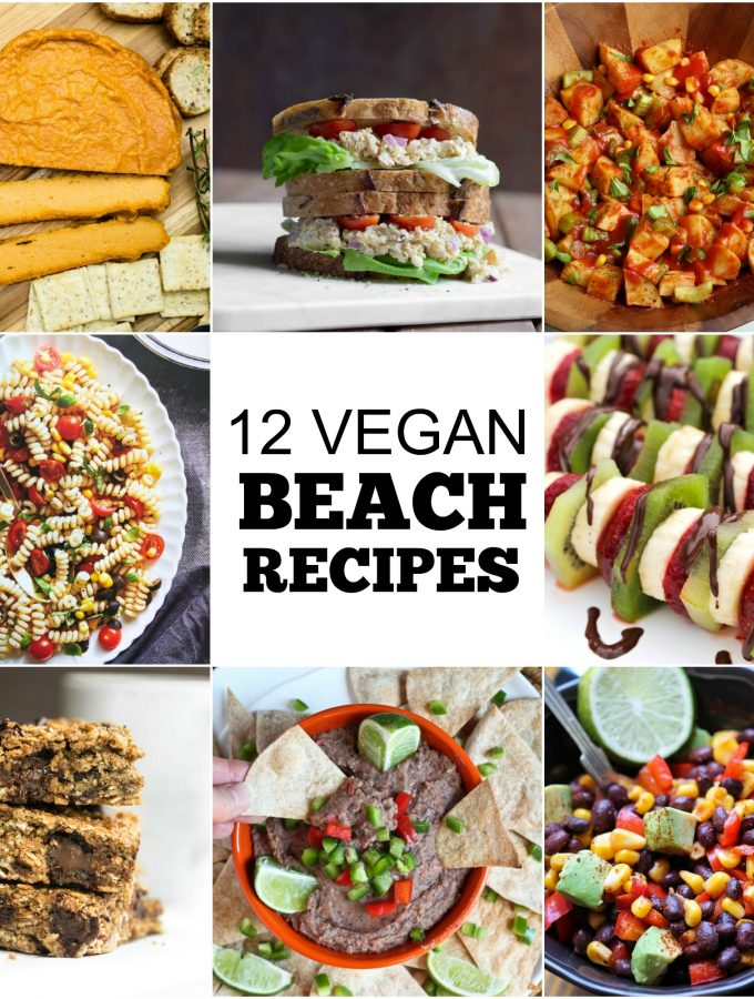 collage of different recipes to take to beach