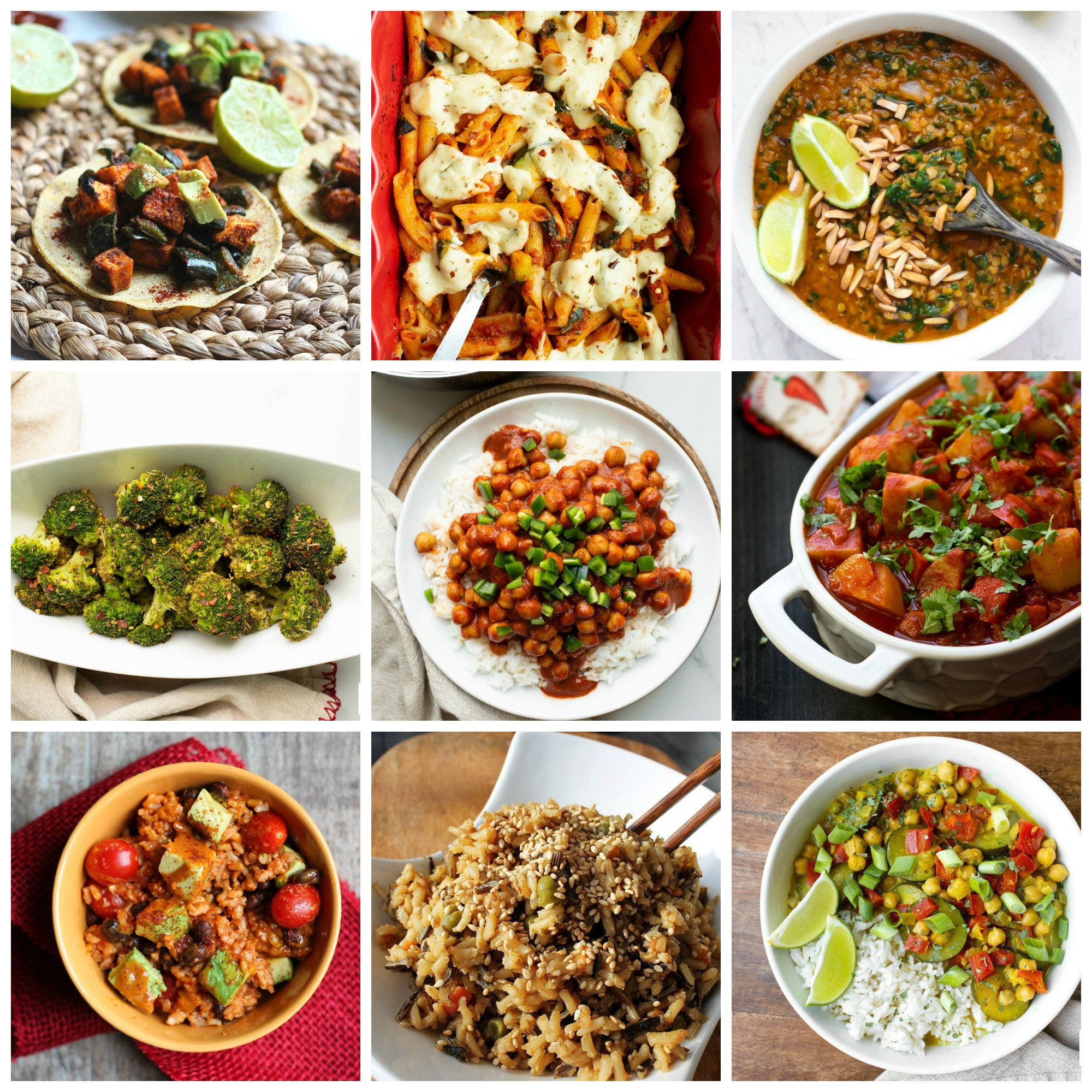 collage of vegan 8 recipes