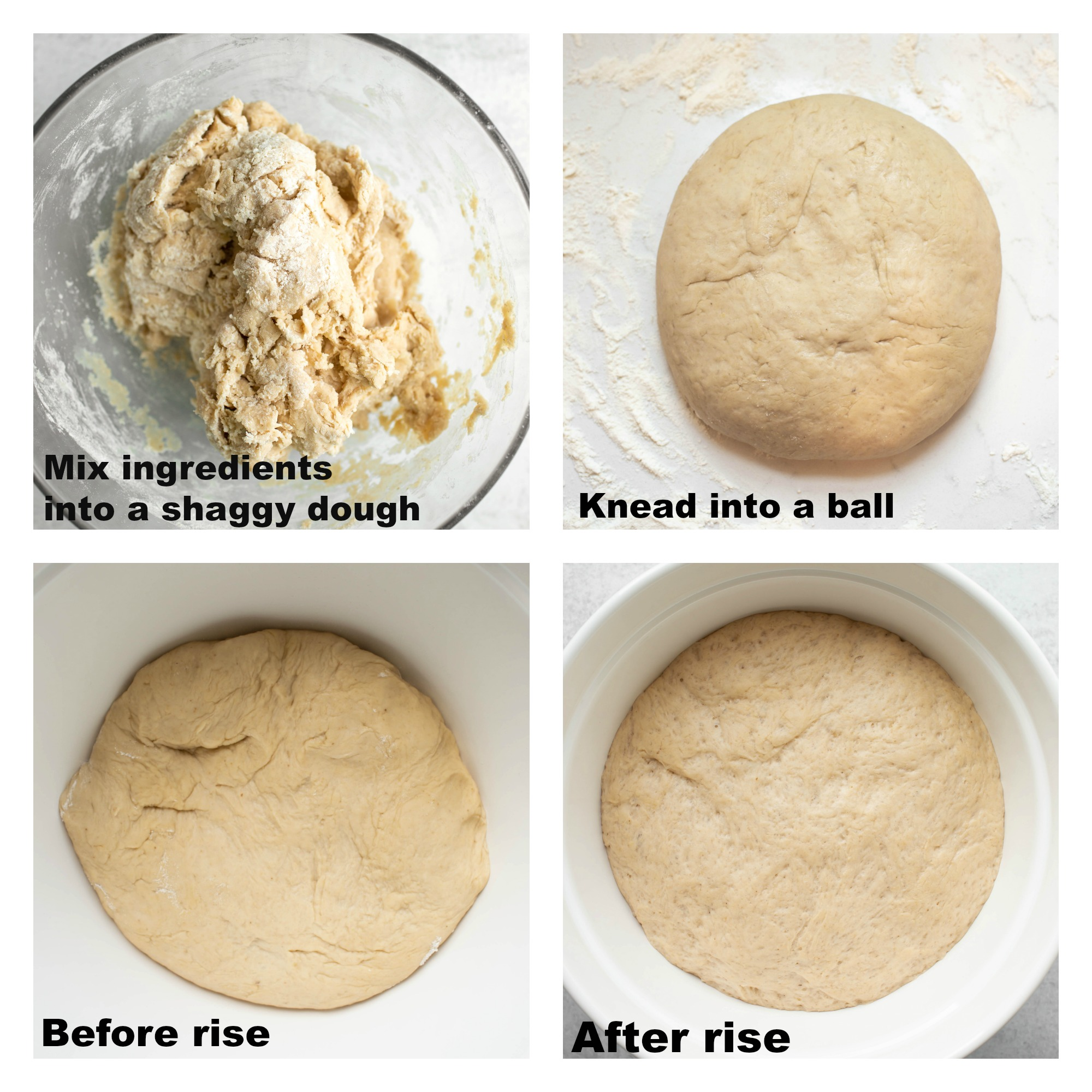 collage of before and after dough rising