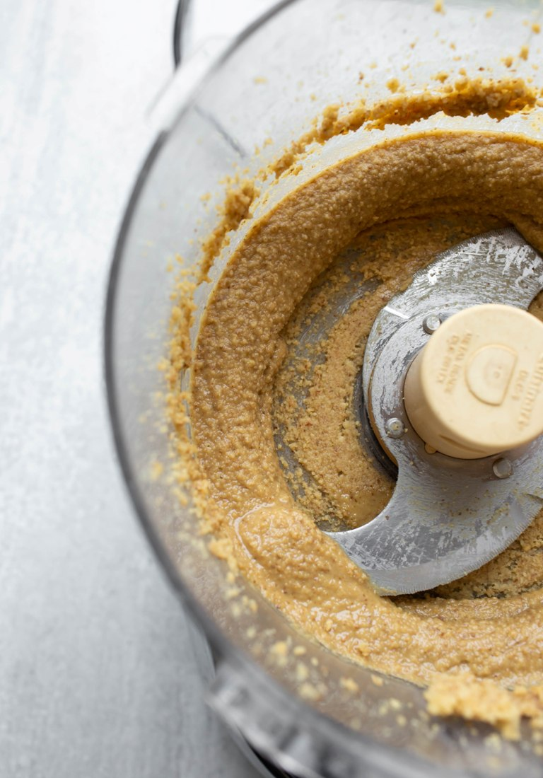 processed walnut butter in food processor