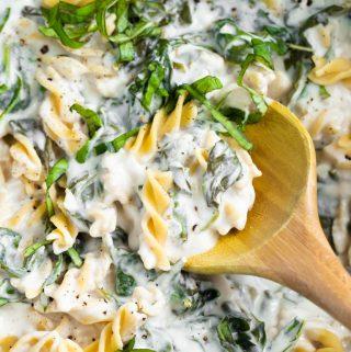 closeup of wood spoon in pasta cream sauce