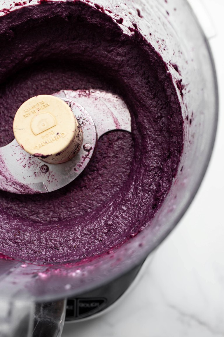 vegan blueberry cream cheese processed in food processor