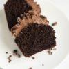 closeup of inside of vegan chocolate cupcake