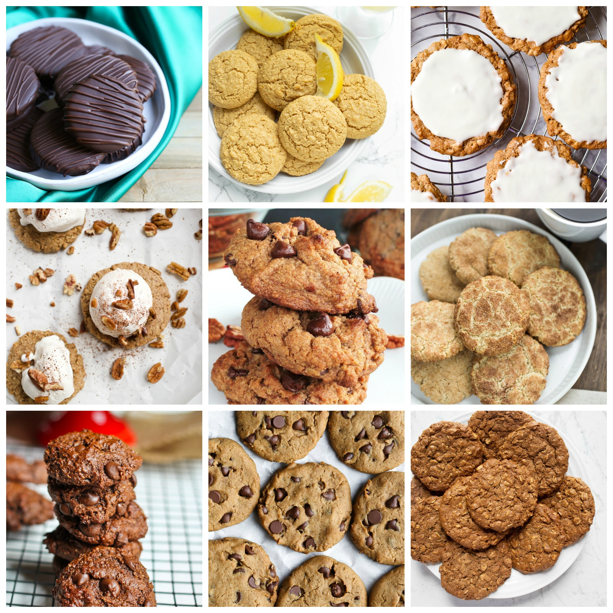 collage of vegan oil-free cookies