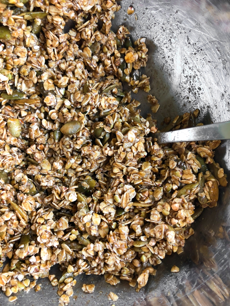 mixed wet granola mixture