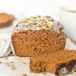 closeup of vegan pumpkin bread interior