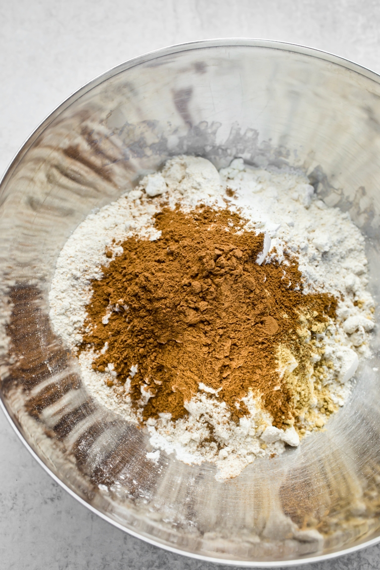 vegan pumpkin bread dry ingredients in silver bowl