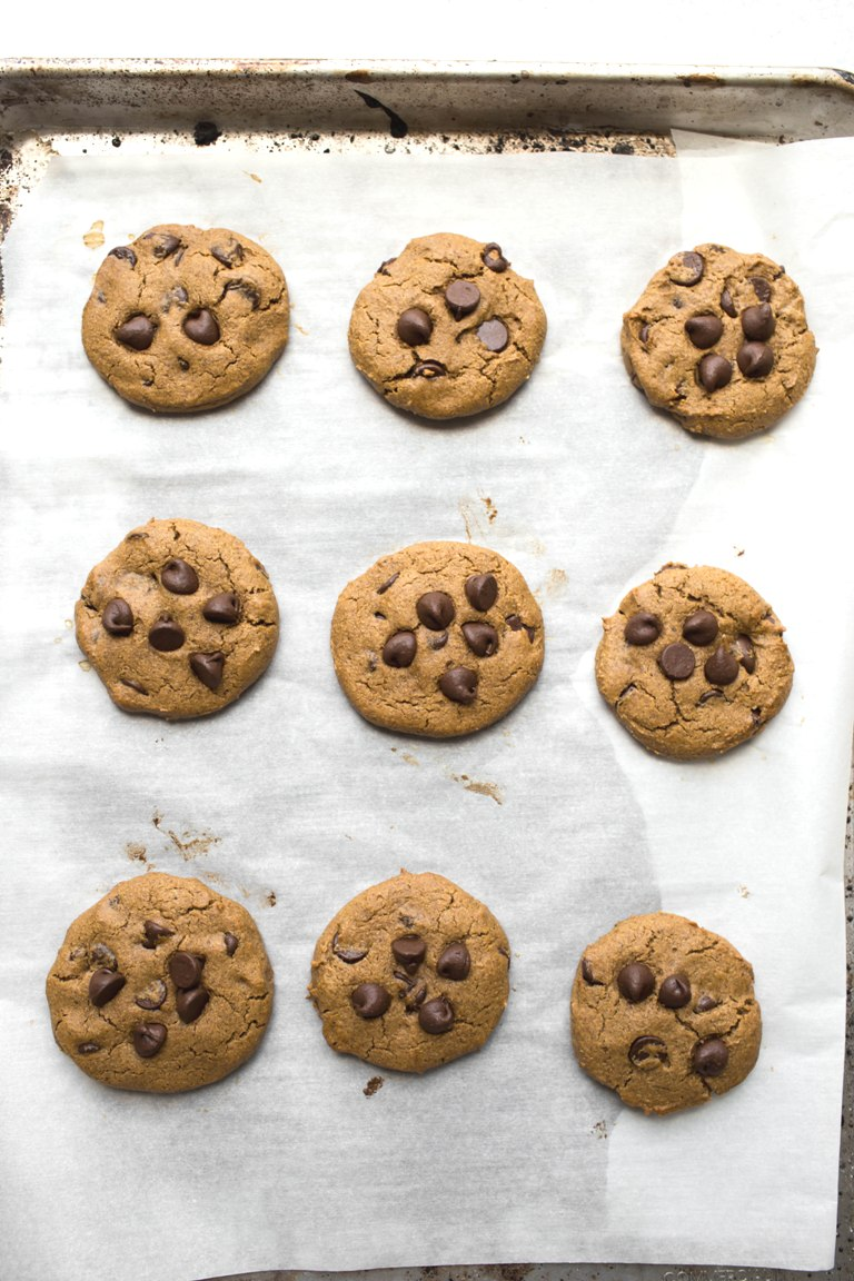 pan of baked vegan pumpkin chocolate chip cookies