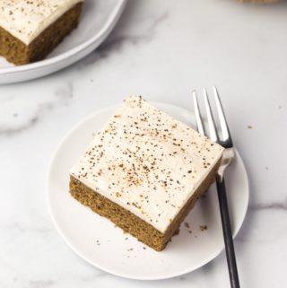 slice of vegan pumpkin bread on white plate