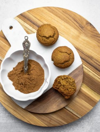 pumpkin muffins next to bowl of pumpkin spices