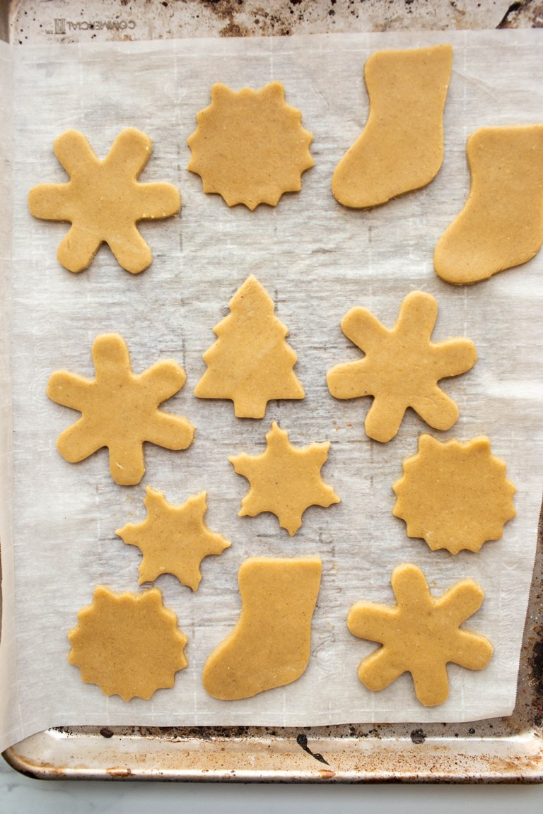 vegan sugar cookie cut-outs before baking