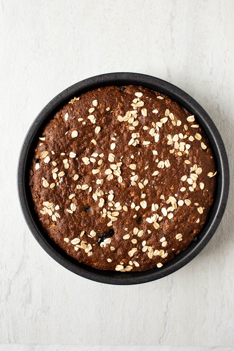 baked vegan blueberry breakfast cake in cake pan