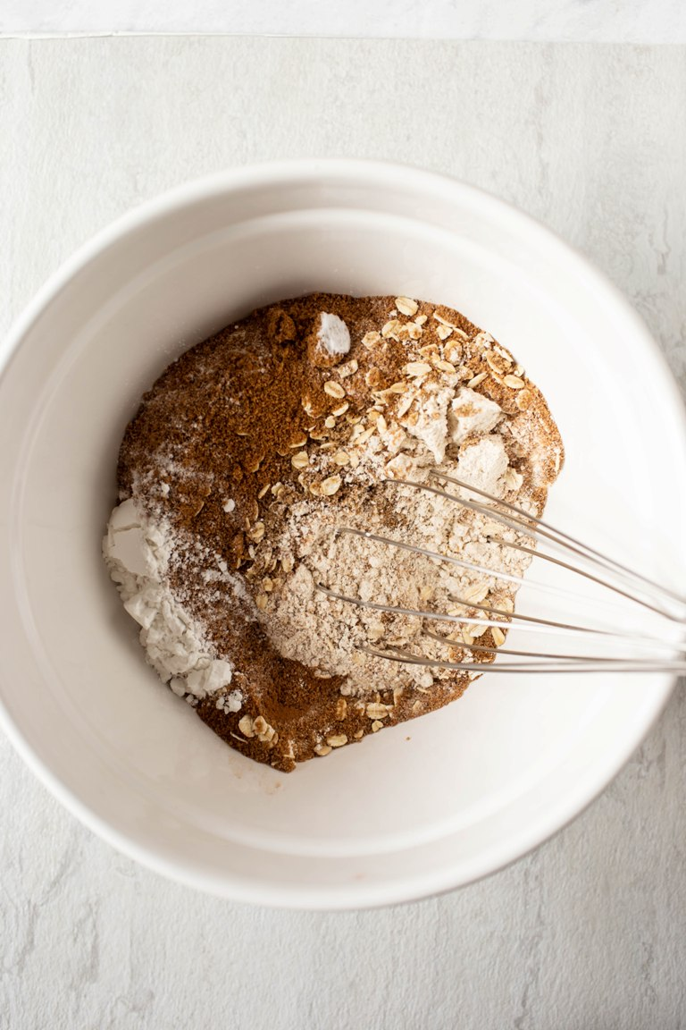 dry ingredients whisked in white bowl