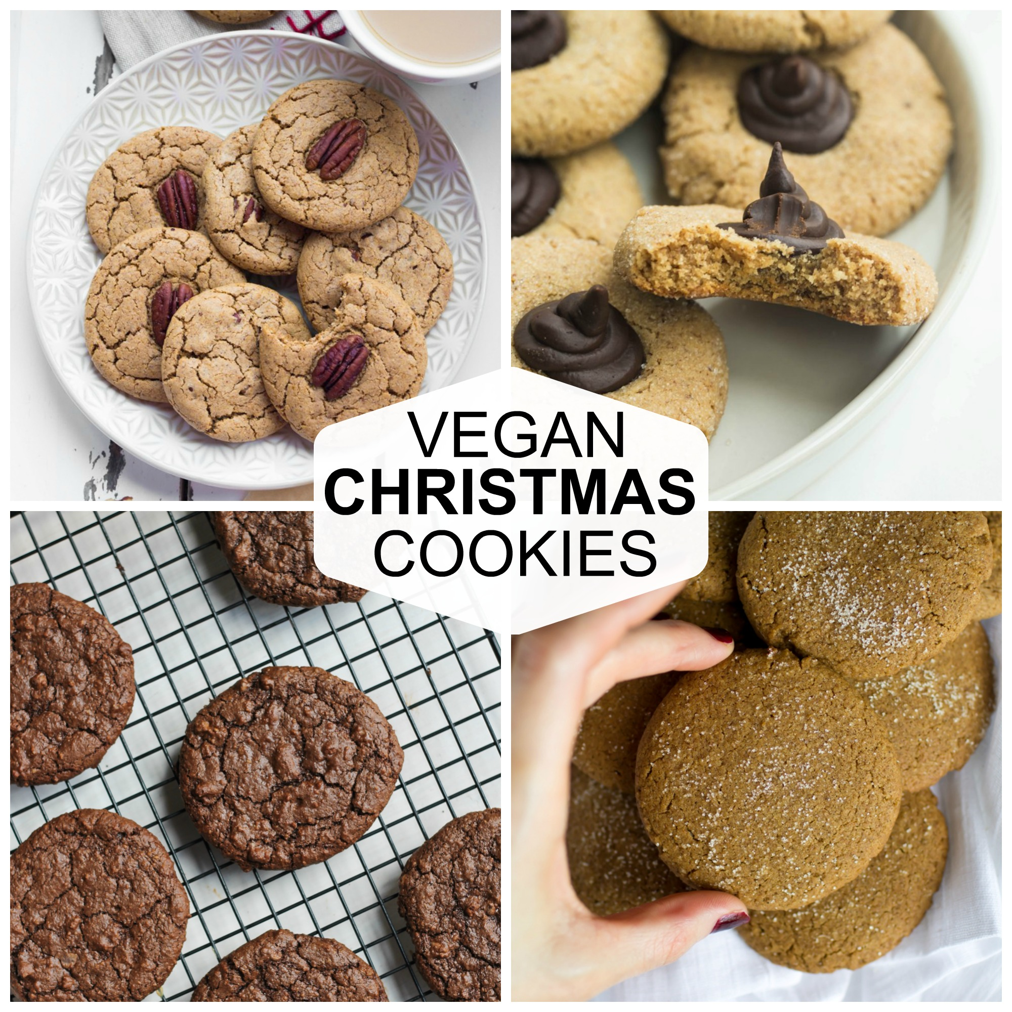 collage of pics of vegan Christmas cookies