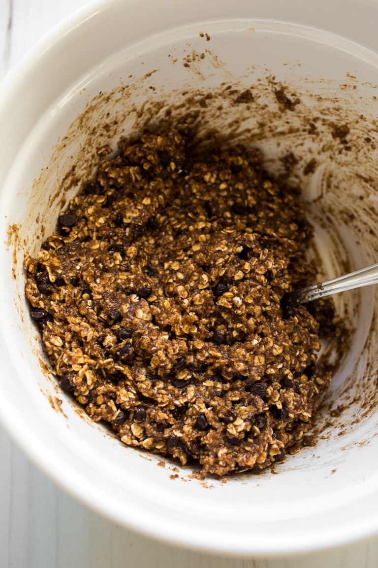 wet chocolate chip granola batter in white bowl