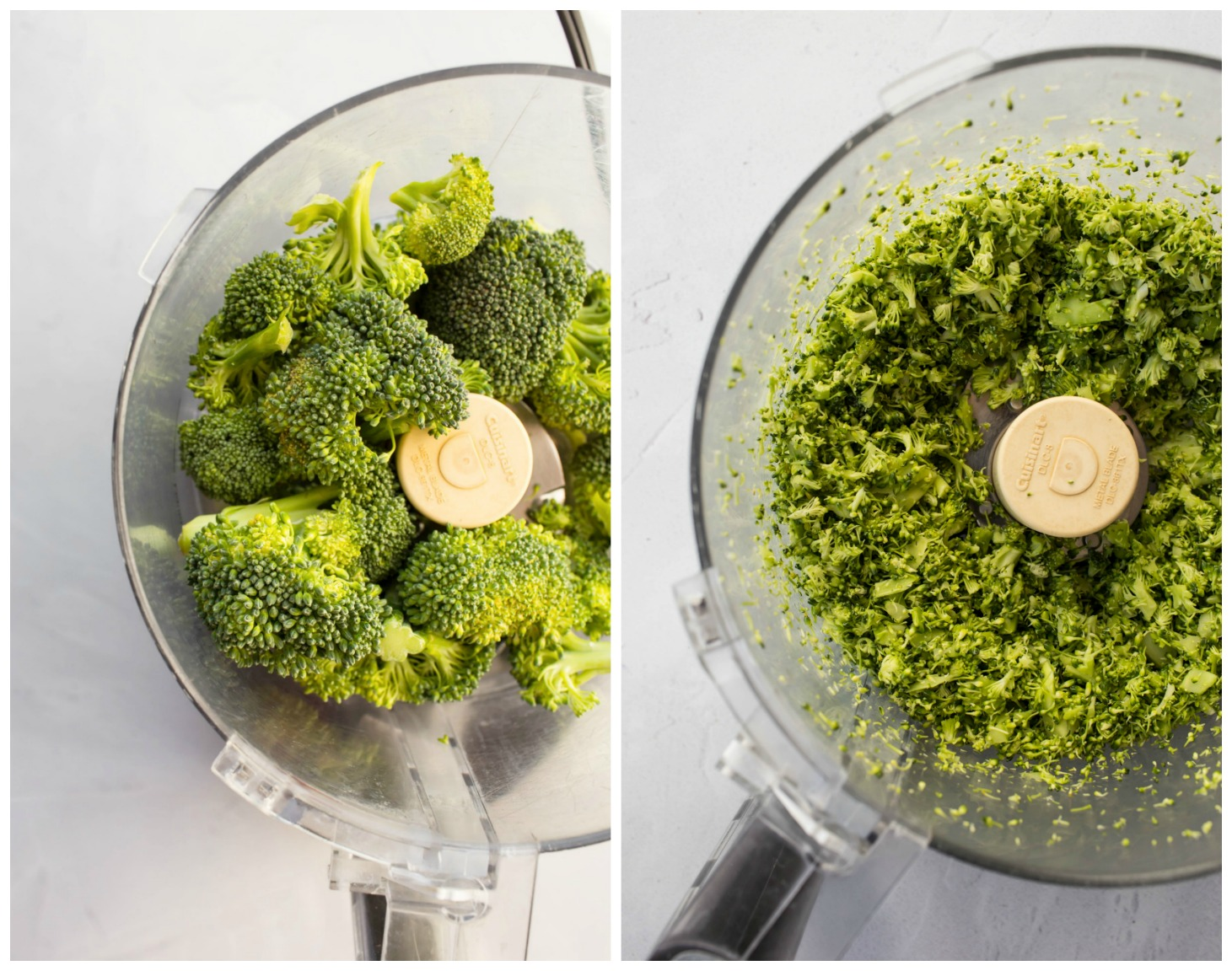 collage of before and after broccoli florets processed into food processor