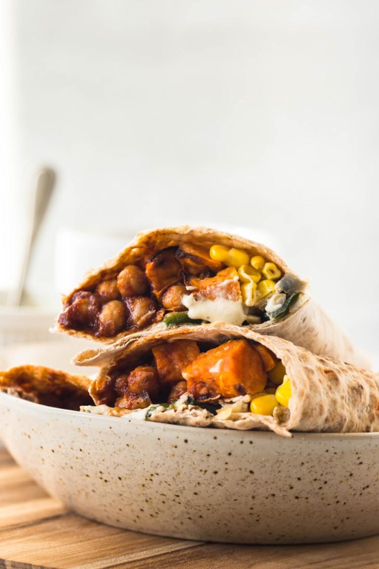 2 sweet potato chickpea wraps in bowl