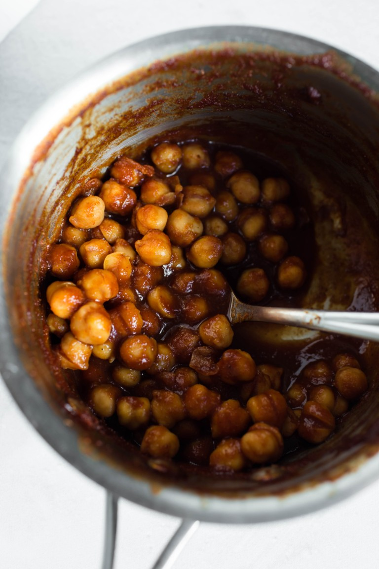pot of bbq chickpeas