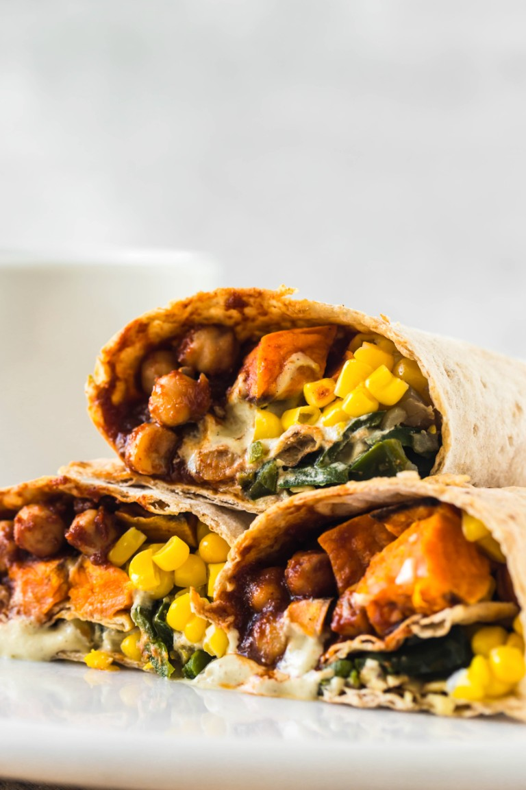 Sweet Potato Chickpea BBQ Wraps - The Vegan 8