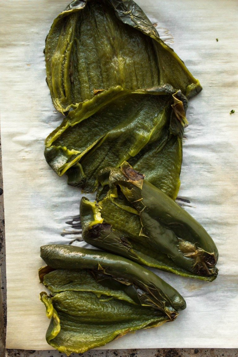 sliced open roasted poblano peppers
