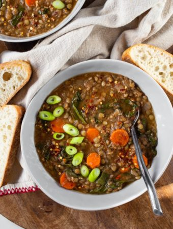 lentil soup in gray bowl with fresh green onions