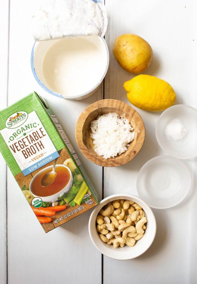 ingredients for vegan mozzarella on white wood table