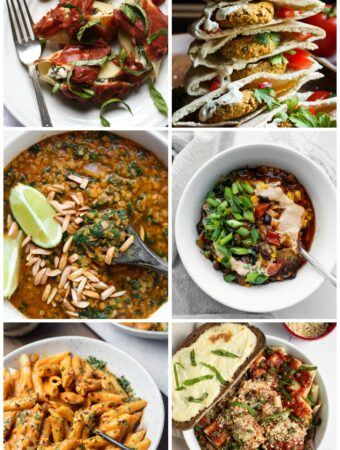 collage of vegan pantry recipes