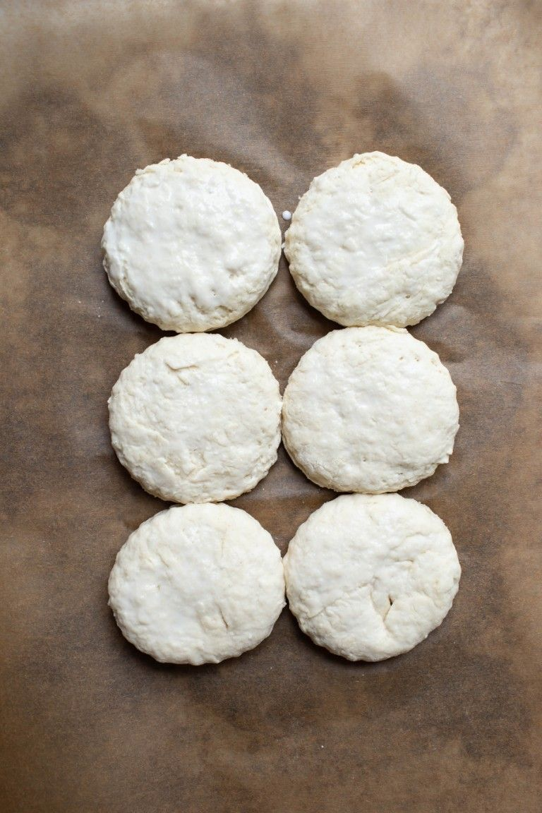 biscuits on pan before baking
