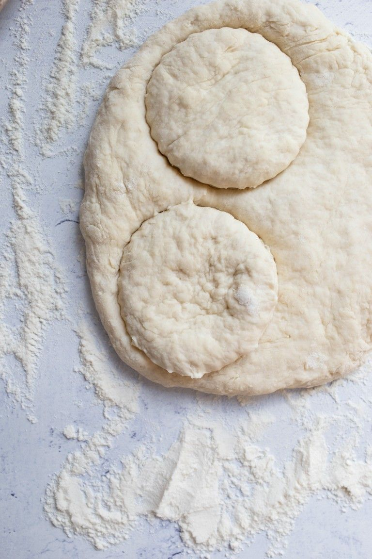 cut out biscuits of dough