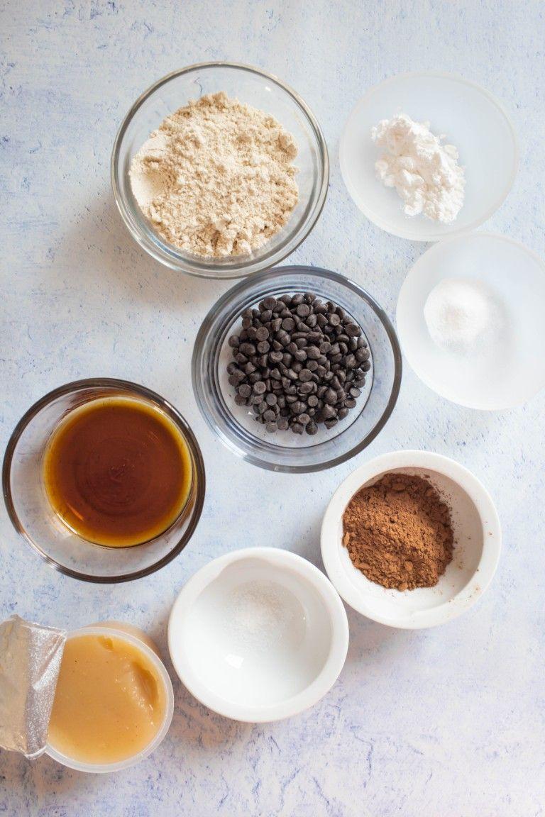 ingredients in small bowls for vegan chocolate mug cake