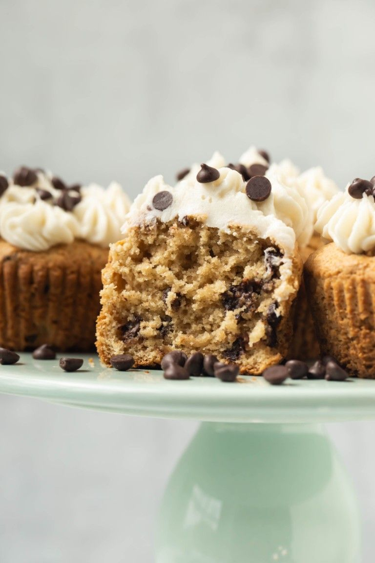 inside of fluffy cupcake with other cupcakes on cake stand