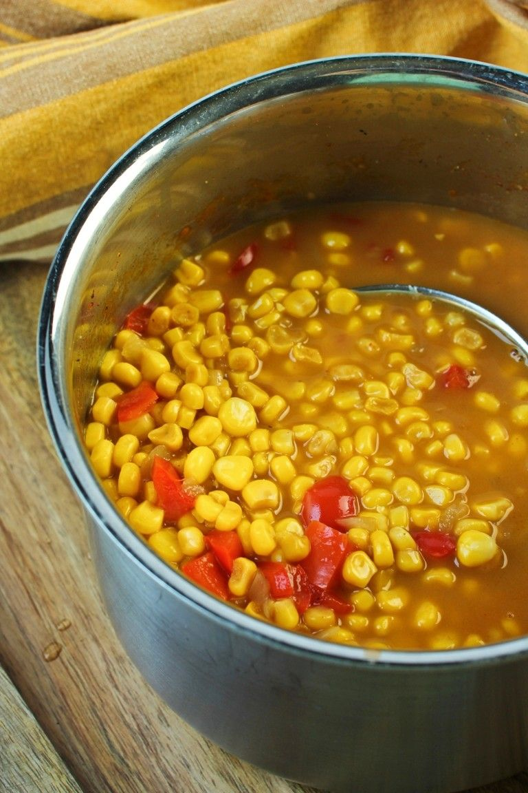 large pot of summer corn soup