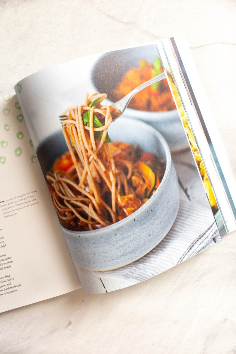 open inside view of Vegan Reset cookbook