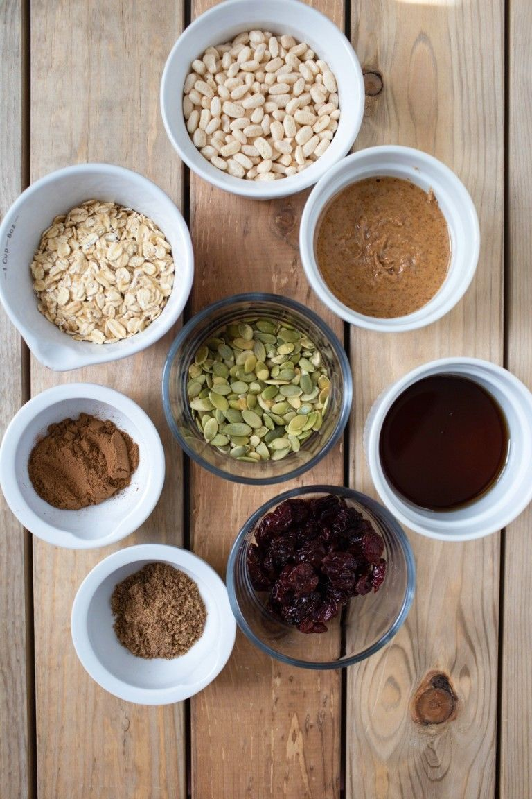 ingredients in individual bowls for breakfast cookies