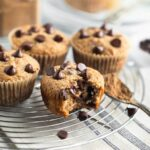 chai muffins on rack with chocolate chips
