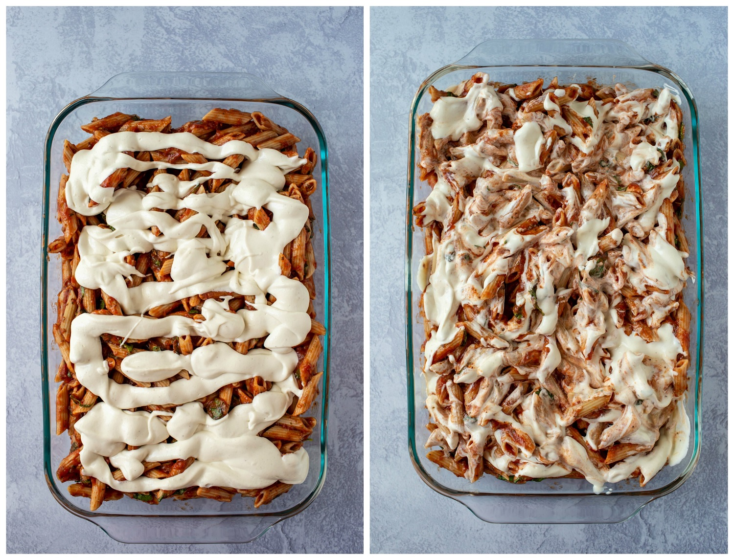 collage showing cashew cheese sauce drizzled on top of pasta before baking