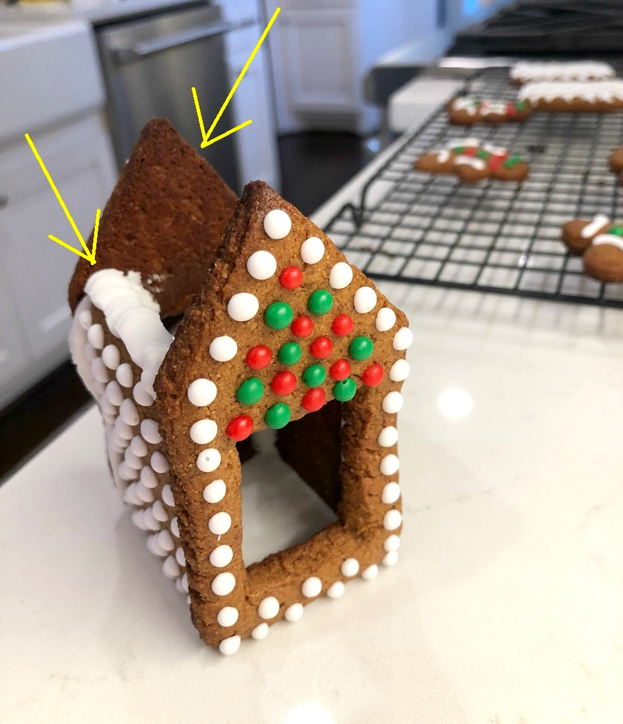arrows pointing to how to pipe frosting on to adhere roof