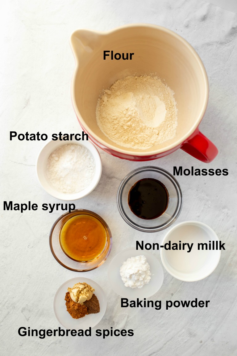 ingredients in individual bowls for gingerbread pancakes