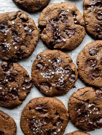 overhead of vegan chocolate cookies with espresso and sea salt