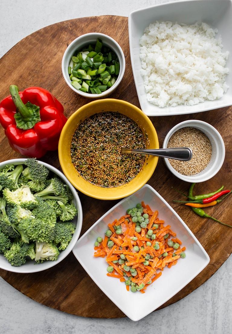 ingredients in individual bowls for making vegan teriyaki bowl