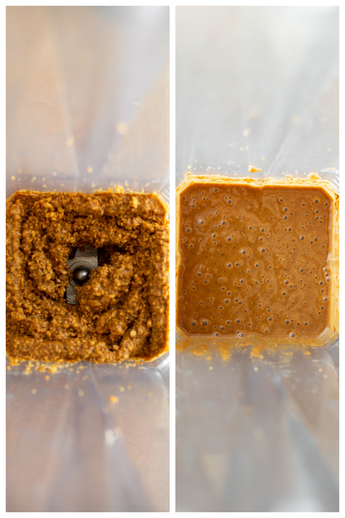 stages of hazelnut butter in vitamix blender from chunky to smooth