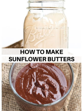 collage of chocolate sunflower seed butter and regular