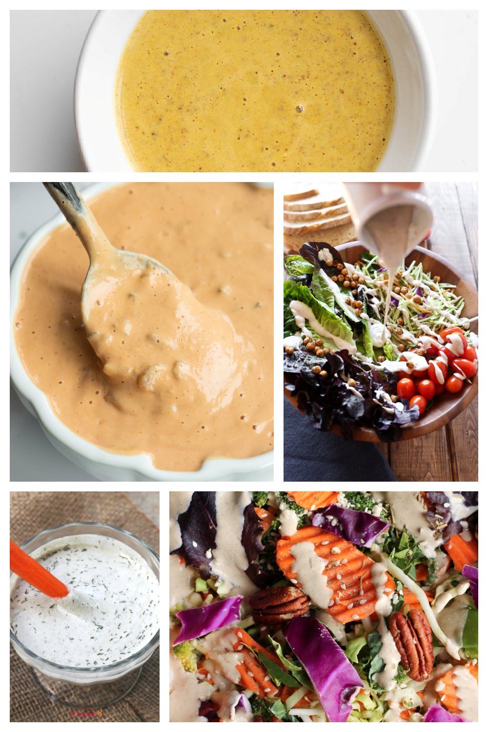 collage of several vegan oil free salad dressings