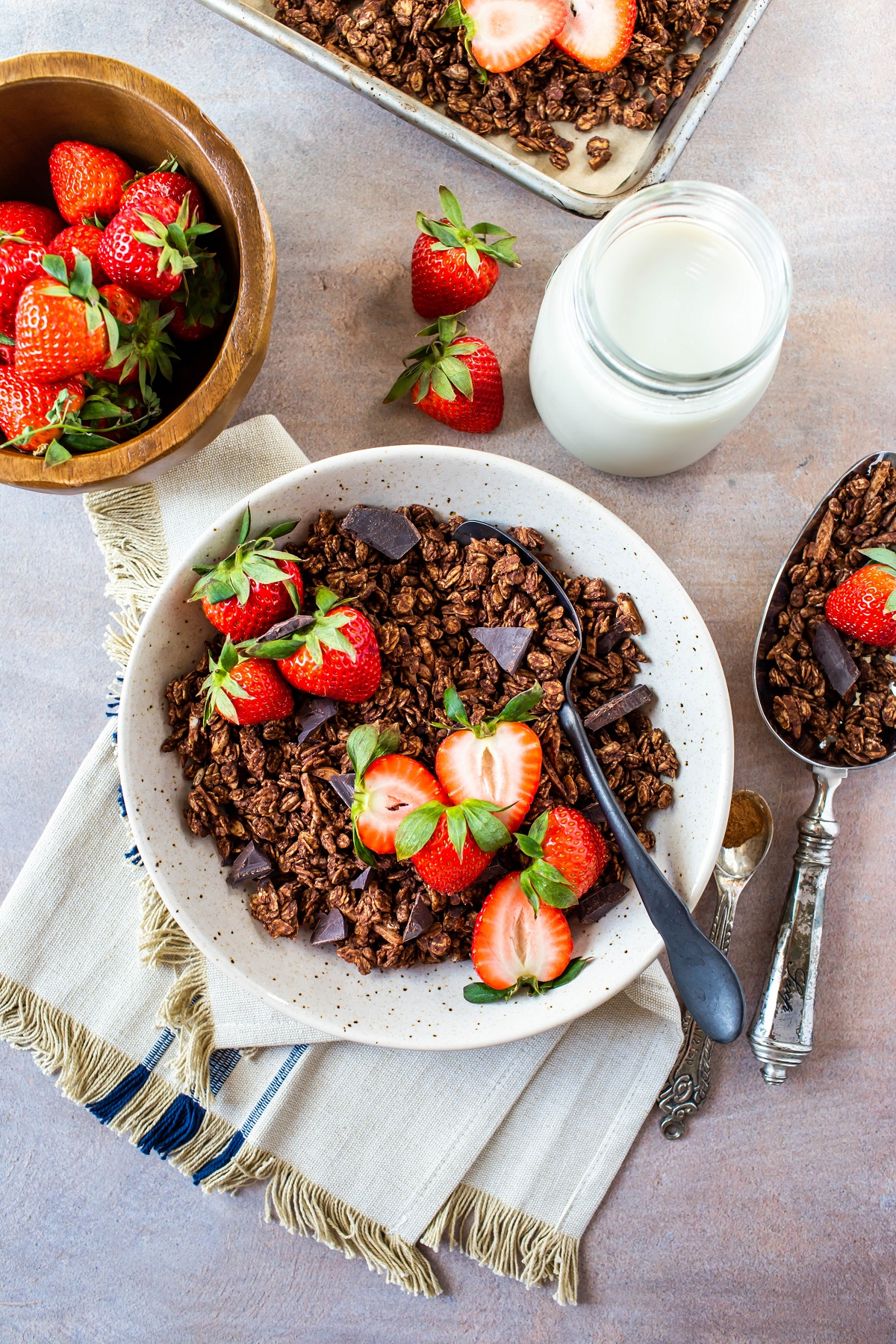 bowl of chocolate granola with glass of milk and extra bowl of strawberries