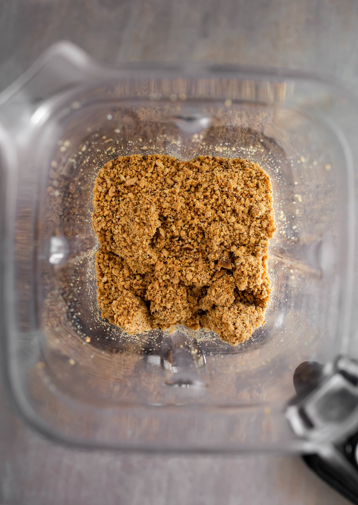 ground up hazelnuts in blender into tiny pieces