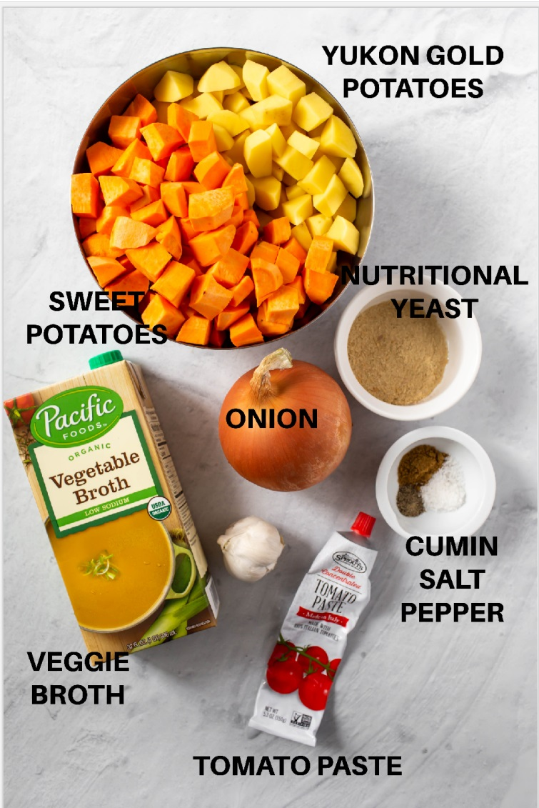 ingredients in individual bowls for instant pot vegan sweet potato soup